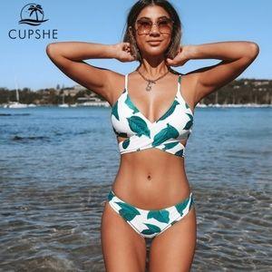 Cupshe leaf print wrap around bikini *READ